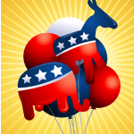 Ballons of the republican party elephant and democratic donkey