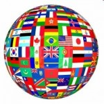 flags of the world in globe form