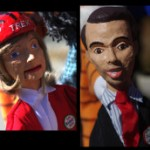 Marionettes depicting Mary Burke and Scott Walker