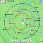 Radio Locator's predicted coverage of the WORT FM signal.
