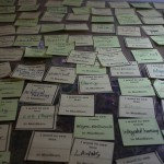 An art piece consisting of sticky notes containing peoples' thoughts conceived by artists Julie Koenke and Mandy Yourick