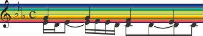 rainbow music staff