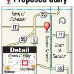 Map showing proposed mega dairy in Green county.