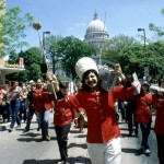 Leon Varjian leads the boombox parade down State Street