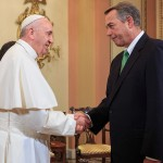 Pope Francis shakes hands with Speaker John Boehner