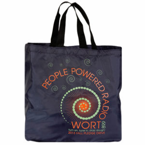 WORT nylon tote pledge premium.
