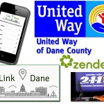 Images of cell phone with website loaded and the logos of the associated partners United Way of Dane County, www.Link-Dane.co and Zendesk.