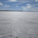 Lake Monona frozen over on a pleasant Saturday.