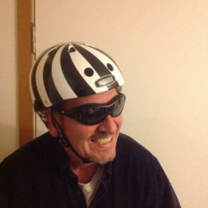 He's helmeted & ready to spin - meet DJ Mr. Dance