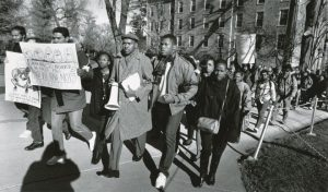 Photo Courtesy UW Madison Archives: Students protest committee and chancellor's response to racist incident at UW Madison fraternity, 1988
