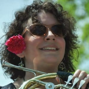 Kia Karlen showing her flower power