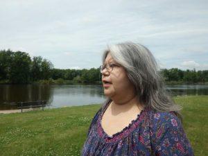 Sandra Massey at the Bad Axe massacre site.