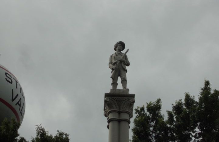 the militiaman at the top of the column