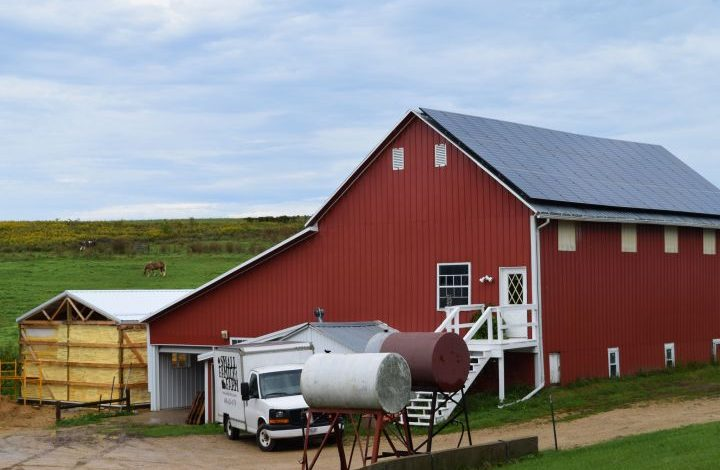 Solar panels on barn roof