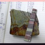 Composite image of barite rock samples and science notebook.