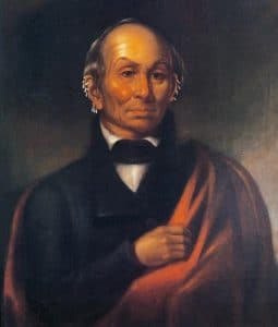 Robert Sully painted this original portrait of Black Hawk at Fortress Monroe, Virginia, while Black Hawk was confined there in 1833.