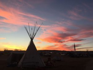 sunset at Standing Rock
