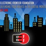 EFF composite image with EFF logo set against city skyline and radio waves