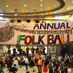 Composite image of dancers at the Madison Folk Ball and its banner hanging above