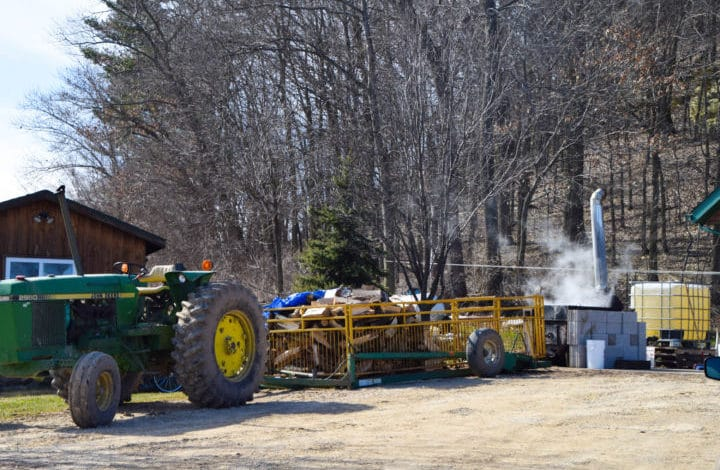 Tractor, wood, boiler, syrup steaming