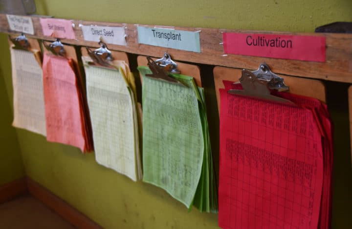 Clipboards with different color paper and titles like cultivation, transplant