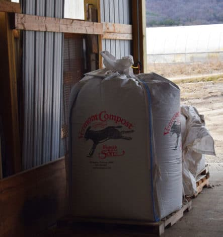 Large white bag of Vermont Compost
