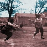 Photo of Women playing baseball at the University of Wisconsin-Madison in 1928. From the UW Collection, altered for use here by Stephen Lord
