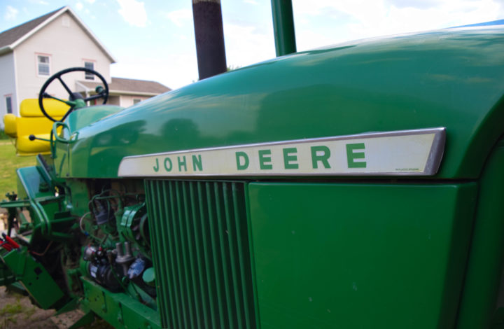 Green John Deere tractor
