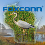 Compilation image of a Great Blue Heron, wetlands, the shape of Wisconsin and the Foxconn logo., by Stephen Lord. Original component images from wikimedia.org
