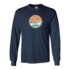 "WORT Long Sleeve Navy Tee Shirt with ""Resist the Status Quo"" circular image."