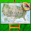 Compilation image of Imus map of The US, on an easel with artist palette and brushes by Stephen Lord