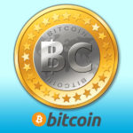 Image of an imaginary Bitcoin from wikimedia.org and an image of the official Bitcoin logo below.