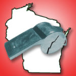 Compilation image of a broken whistle and the outline of Wisconsin.