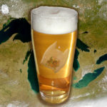 Compilation image of satellite view of The Great Lakes behind a plastic bag in a glass of beer.
