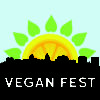 Madison Vegan Fest logo: fruit over skyline of Madison